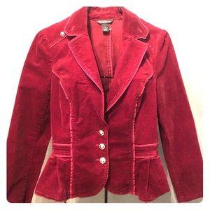 White House Black Market Corduroy Burgundy Jacket